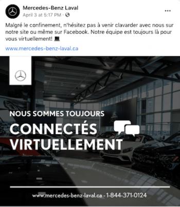 Bonnes pratiques : exemple de publication pour gardez le contact avec les médias sociaux pendant la covid19-360.Agency- Mercedez-Benz Laval