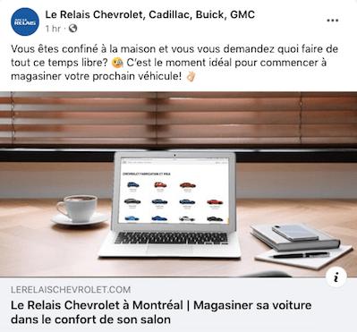 Bonnes pratiques : exemple de publication pour gardez le contact avec les médias sociaux pendant la covid19-360.Agency- le Relais Chevrolet